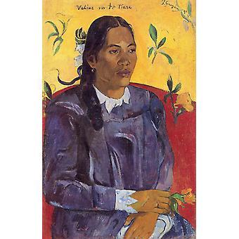 Vrouw met een bloem, Paul Gauguin, 70x46cm