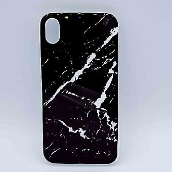 For IPhone XR-veske-svart marmor