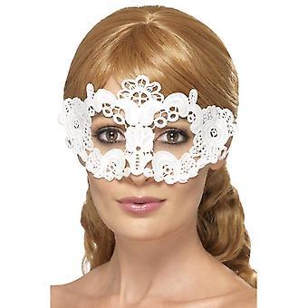Geborduurde kant filigraan bloemen Eyemask, wit