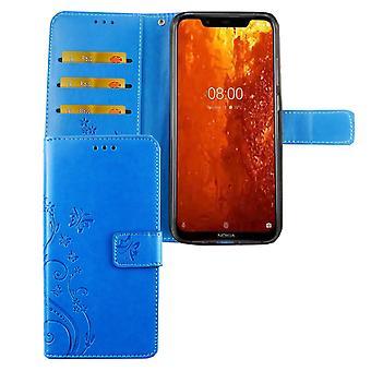 Nokia 8.1 / Nokia X7 Handy-Hülle Schutz-Tasche Cover Flip-Case Kartenfach Blau