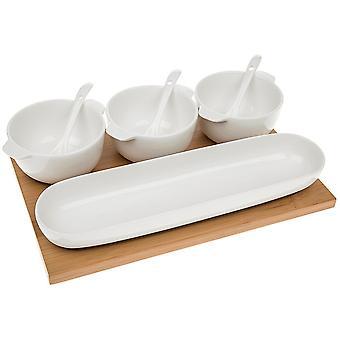 Bamboe - specerijen Set / 3 opslag potten met lepels en lade - wit / bruin