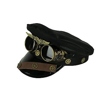 Steam Forces Black Captain Cap and Goggles Adult Halloween Steampunk Costume Hat