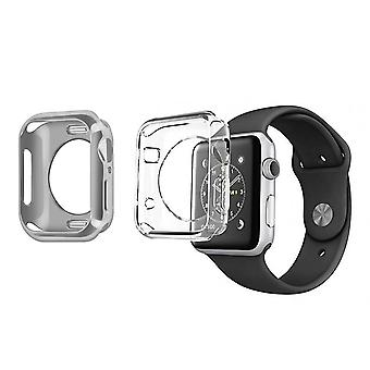 2x Watch case 38 and 40mm Soft Silicone Bumper Dux Ducis Silver and Transparent