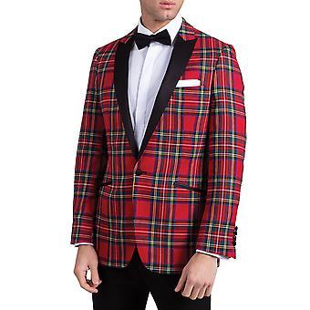 رجل دوبل الأحمر الترتان البدلة الرسمية سترة ضئيلة تناسب التباين طية صدر السترة الذروة