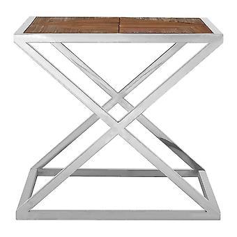 Fusion Living Distressed Fir Wood Side Table ze srebrną ramą