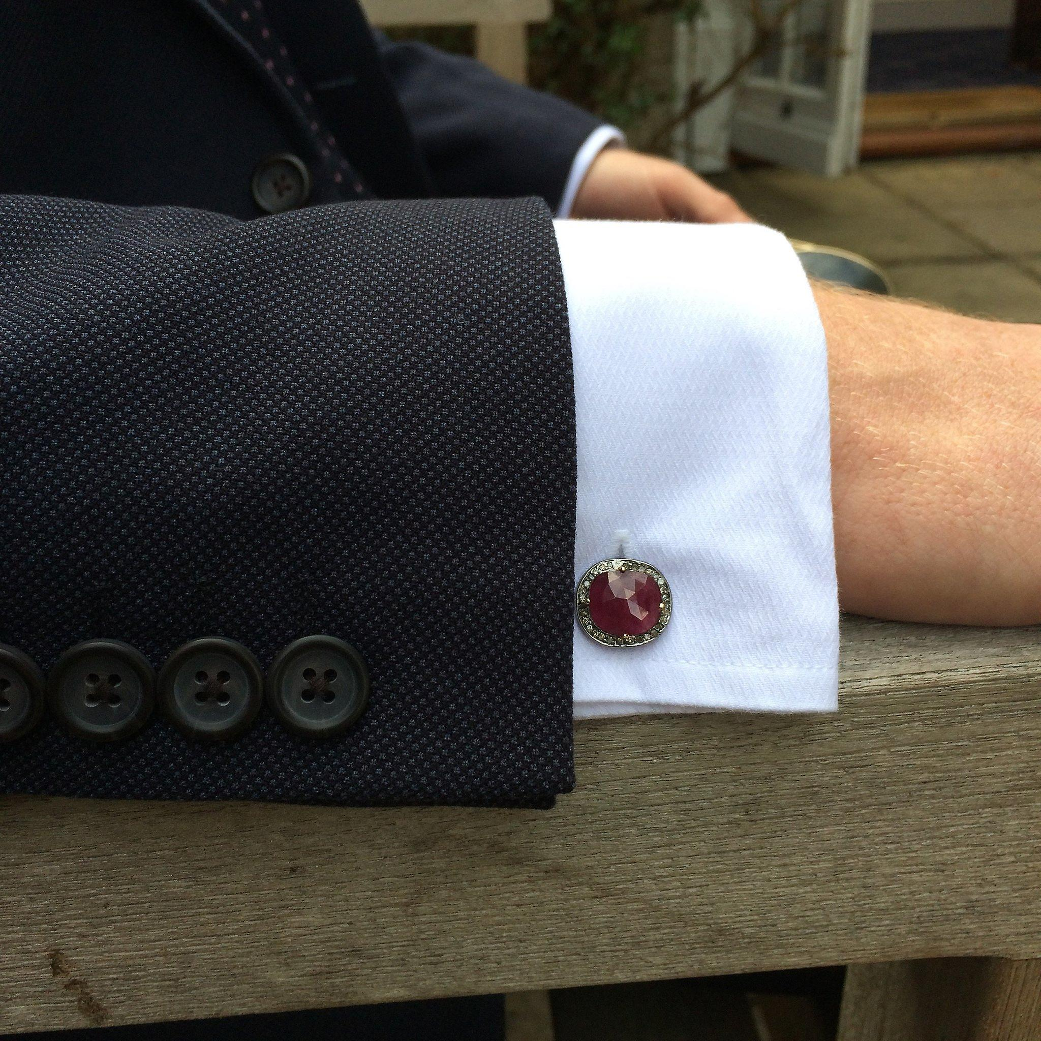 Latelita 925 Sterling Silver Oxidised Ruby Diamond Cufflinks Boxed Luxury Red