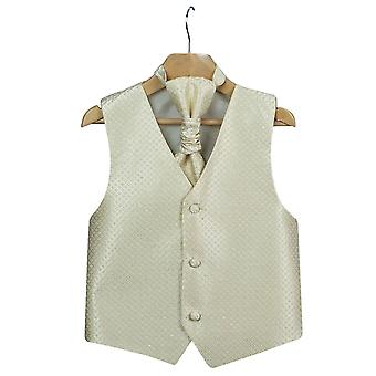 Boys Men's Gold Wedding Waistcoat Cravat Hanky Set