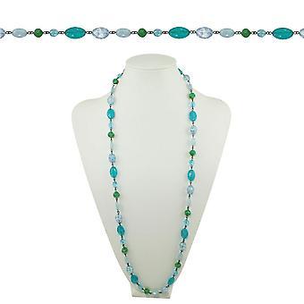 Wieczne kolekcji Martyniki Aqua niebieski i zielony kryształ 36 cali Gunmetal zroszony naszyjnik