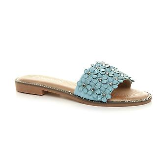 Ajvani womens flat low heel flower studded diamante summer flip flop sandals