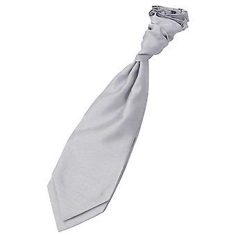 Silber Plain Shantung Pre-Tied Hochzeit Cravat