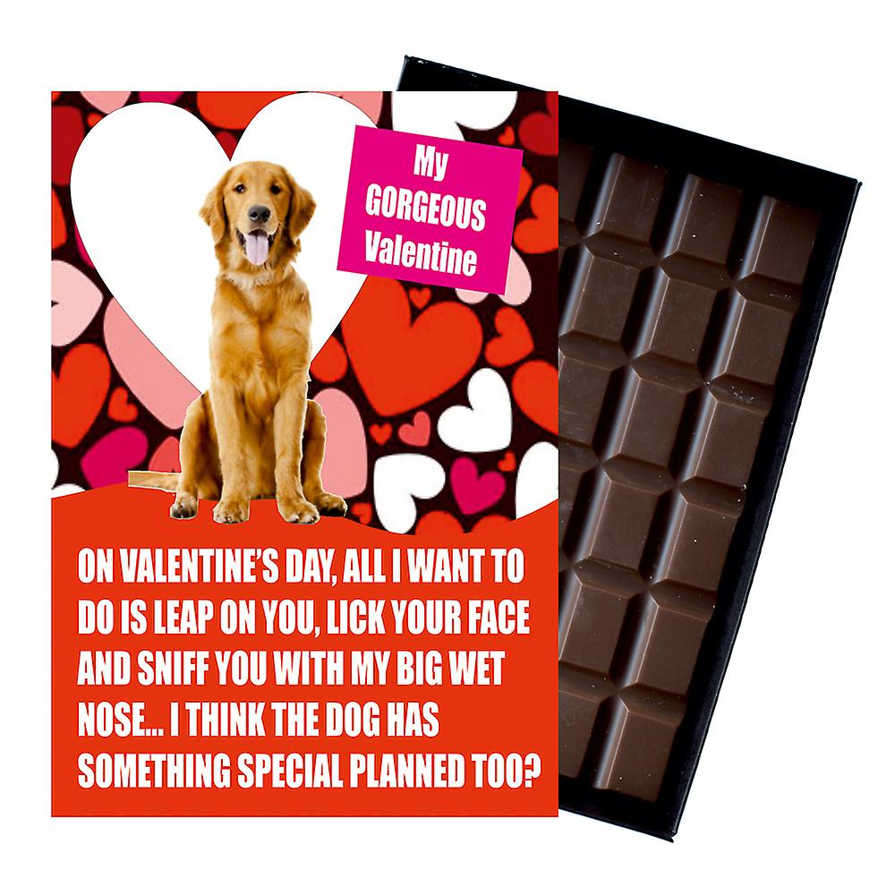 Novelty Chocolate Dog Lover Valentines Day Gift Golden Retriever Greeting Card