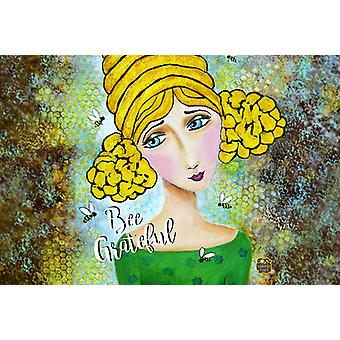 Carolines Treasures VHA3008PLMT Bee Grateful Girl with Beehive Fabric Placemat Carolines Treasures VHA3008PLMT Bee Grateful Girl with Beehive Fabric Placemat Carolines Treasure
