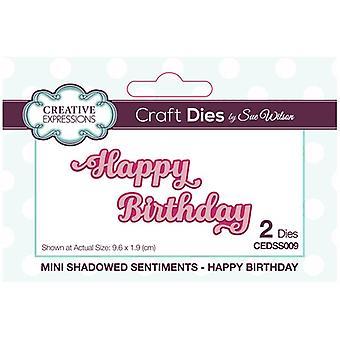 Sue Wilson sterven set gelukkige verjaardag | Mini shadowed sentimenten