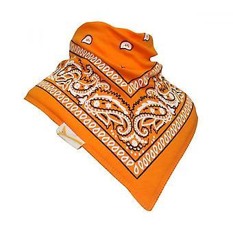 Orange & white patterned bandana bib