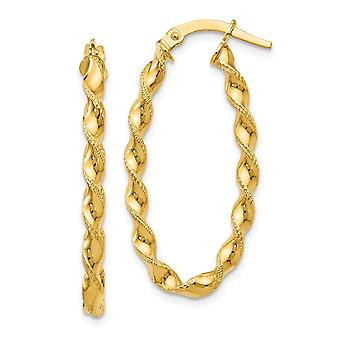 2.5mm 14k Yellow Gold Polished Hinged post Twisted Oval Hinged Hoop Earrings Jewelry Gifts for Women