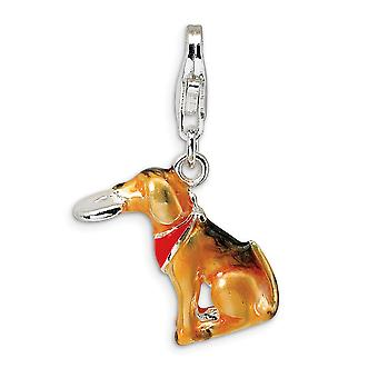 925 Sterling Silver Polished Rhodium plated Fancy Lobster Closure 3 D Enamel Light Brown Animal Pet Dog and Toy With Lob
