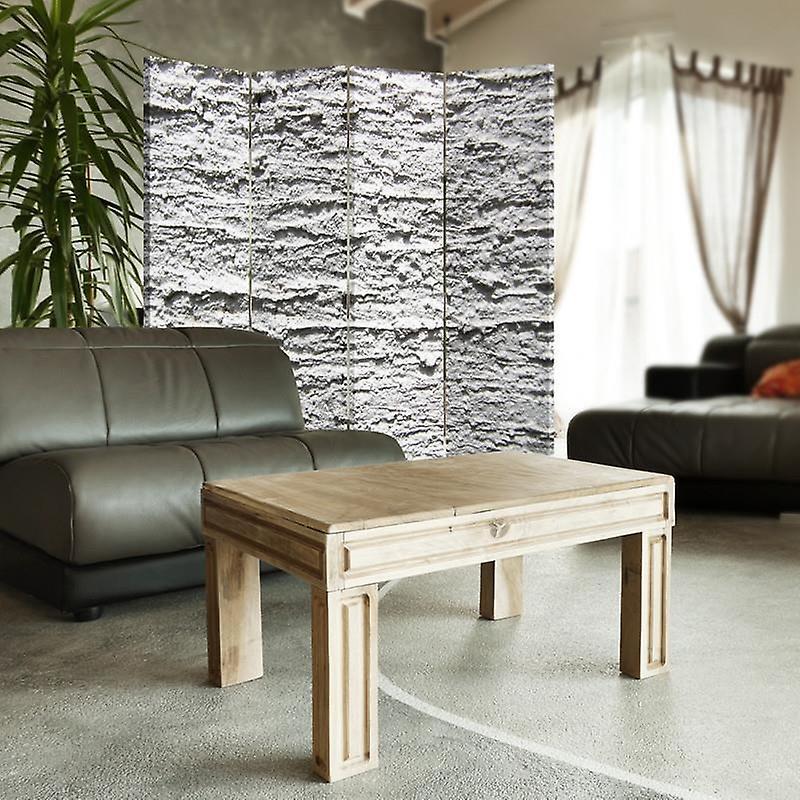 Diviseur de chambre, 4 panneaux, double-sided, 360 rotatable, toile, plâtre gris