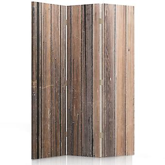 Room Divider, 3 Panels, Double-Sided, 360 ° Rotatable, Canvas, Wooden Planks