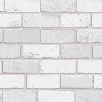 Diamond Brick Wallpaper Silver Grey Arthouse