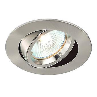 Saxby Lighting Cast 1 Light Recessed Tilt Downlight Satin Nickel Plate 52333
