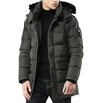 Allthemen Men's Solid Thick Thick Warm Deatachable Cappello & Fur Collare Giacca Imbottita