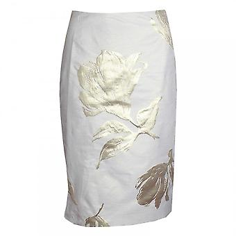 Paola Collection Cream & Gold Printed Straight Skirt