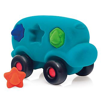 Rubbabu Shape Sorter Bus (Turquoise) Educatieve Push Along Vehicle Early Learn