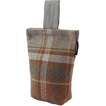 McAlister têxteis património tartan queimado laranja + tecido cinzento batente da porta