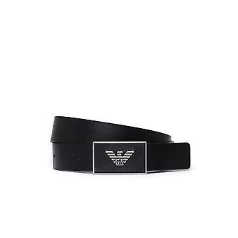 Emporio Armani Eagle Buckle Black Belt
