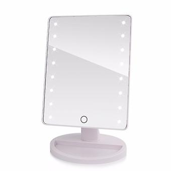 Portable rotatable LED Cosmetic Mirror, battery & USB Powered-White