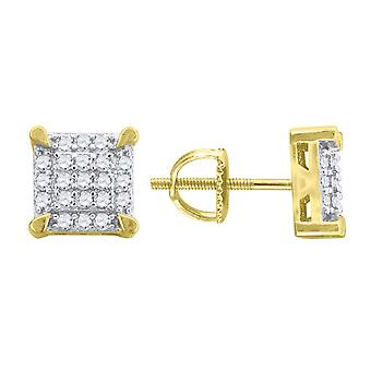 925 Sterling ezüst sárga hang férfi CZ cubic cirkónia szimulált Diamond Square 8.5mm Stud fülbevaló ékszer ajándékok nekem