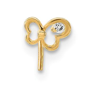 5,15 mm 14k CZ Zirkonia simuliert Diamant Schmetterling Engel Flügel Nase Ohrstecker Schmuck Geschenke für Frauen