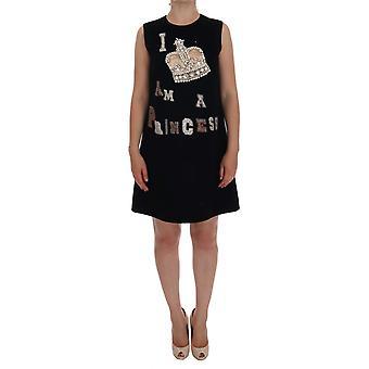 Rochie Dolce & Gabbana Black I Am A Princess Crystal Shift