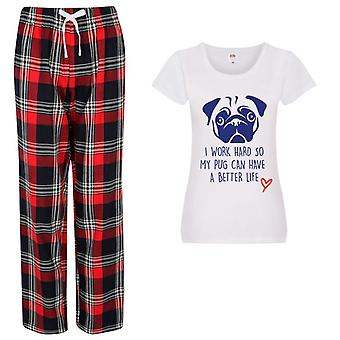 Ladies Life Is Better With A Pug Tartan Trouser Pyjamas