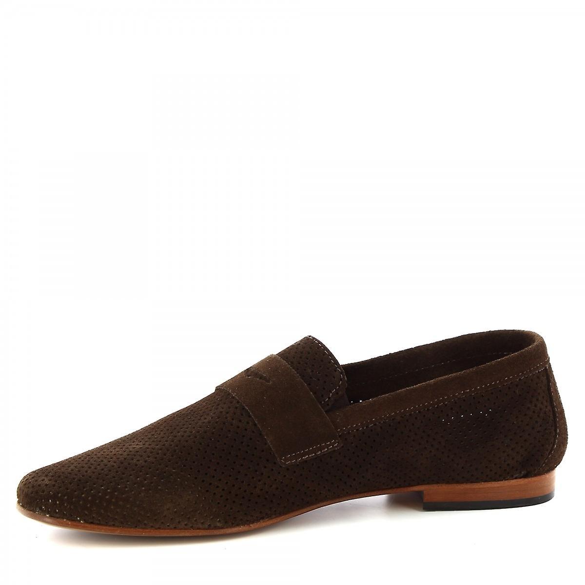 Leonardo Shoes Men's Handmade Loafers Dark Brown Openwork Suede Leather