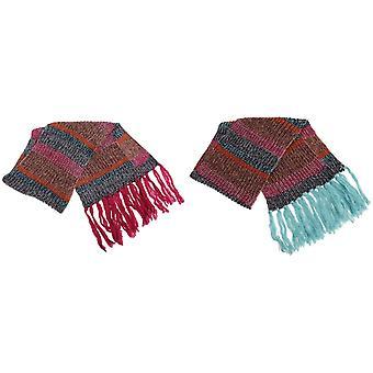Ženy a ženy pruhovaný velký pletený zimní šátek s Tasslesem