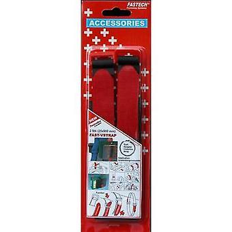 FASTECH® 689-330C Haak-en-lus tape met riem Haak en loop pad (L x W) 900 mm x 25 mm Zwart, Red 2 pc(s)
