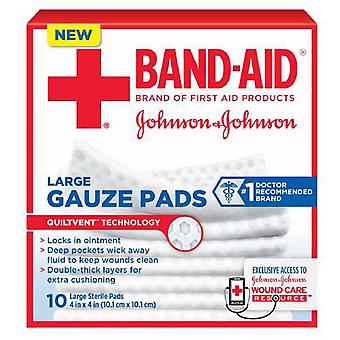 Band-aid first aid gauze pads, large, 4 inch x 4 inch, 10 ea