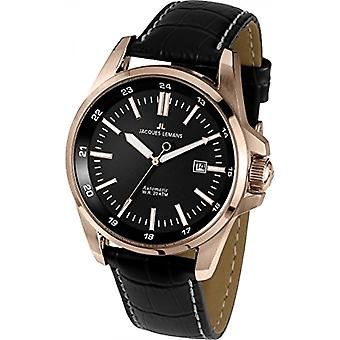Jacques Lemans automatische Mens analoge leerriem 1-1869B
