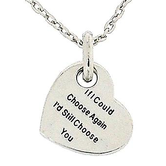 Toc Silvertone 'If I Could Choose Again'... Heart Pendant On 18 Inch Chain