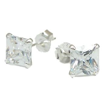 The Olivia Collection Sterling Silver 6mm Clear Princess Cut Stud Earrings