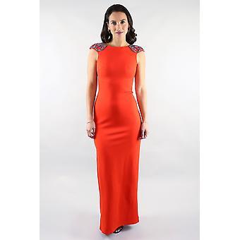 Vestido maxi de peltre naranja