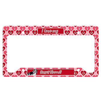 Basset Hound Valentine's Love and Hearts License Plate Frame