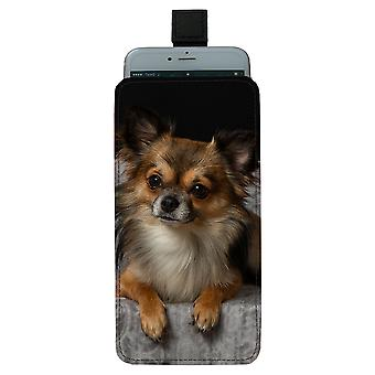 Langhåret Chihuahua Pull-up Mobile Bag