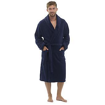 Tom Franks Mens Fleece Towelling Bathrobe Dressing Gown - Navy - Medium/Large