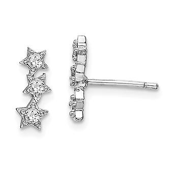 925 Sterling Silver Rhodium plated CZ Cubic Zirconia Simulated Diamond Triple Star Stud Earrings Jewelry Gifts for Women