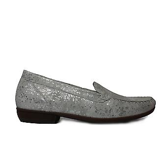 Waldläufer Hina 437502 112 211 Silver Leather Womens Slip On Loafer Shoes