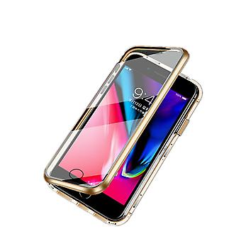 Magnetic shell with double-sided tempered glass - iPhone 7 and 8 - Gold