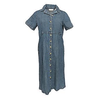Serengeti Petite Dress Denim Short Sleeve Button Down Blue