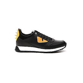Fendi 7e09354r6f046w Hombres's Zapatillas de cuero negro